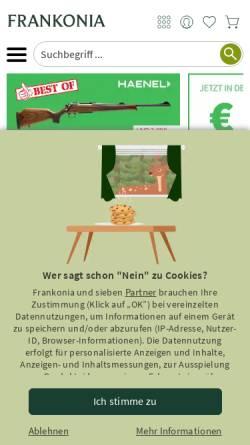 Vorschau der mobilen Webseite www.frankonia.de, Frankonia Jagd