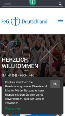 Vorschau der mobilen Webseite www.feg.de, Bund Freier evangelischer Gemeinden in Deutschland K.d.ö.R.
