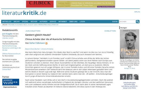 Vorschau von www.literaturkritik.de, Chinua Achebe: Heimkehr in fremdes Land