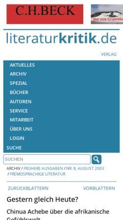 Vorschau der mobilen Webseite www.literaturkritik.de, Chinua Achebe: Heimkehr in fremdes Land