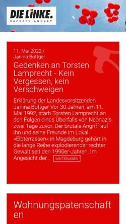 Vorschau der mobilen Webseite www.dielinke-sachsen-anhalt.de, Die Linke. Sachsen-Anhalt