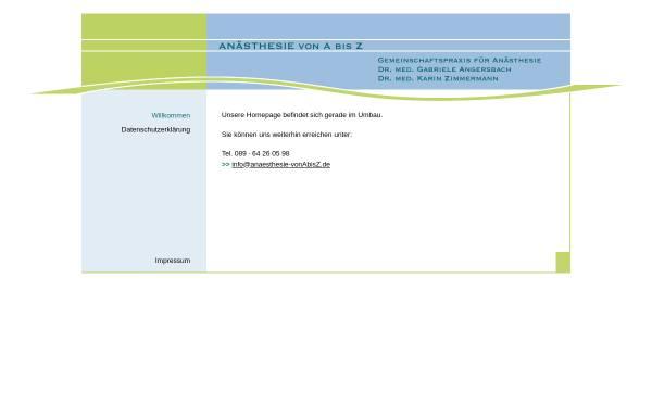 Vorschau von www.anaesthesie-vonabisz.de, Angersbach, Dr. med. Gabriele und Zimmermann, Dr. med. Karin