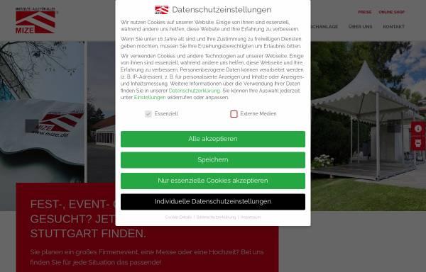 Vorschau von www.mize.de, Zeltverleih Mize e.K.