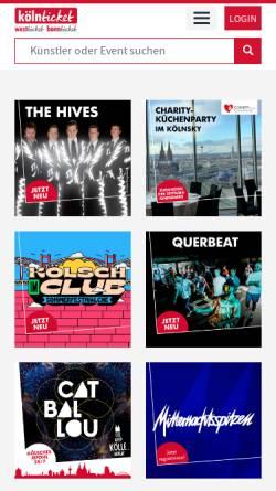 Vorschau der mobilen Webseite www.koelnticket.de, KölnTicket
