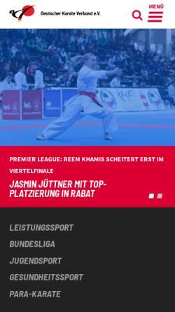Vorschau der mobilen Webseite www.karate.de, Deutscher Karate Verband e.V.