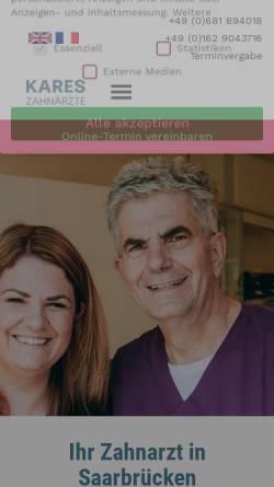 Vorschau der mobilen Webseite www.dr-kares.de, Kares, Horst und Dirk Leiner Dres. med. dent., privatzahnärztliche Praxis