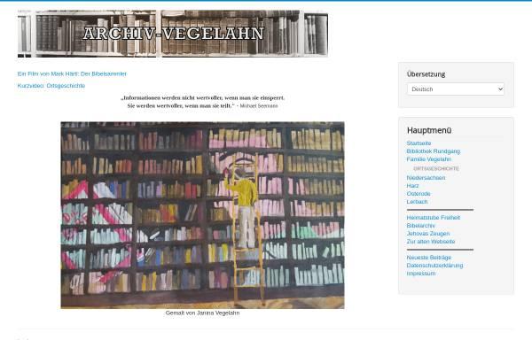 Vorschau von www.archiv-vegelahn.de, Archiv Vegelahn