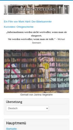 Vorschau der mobilen Webseite www.archiv-vegelahn.de, Archiv Vegelahn