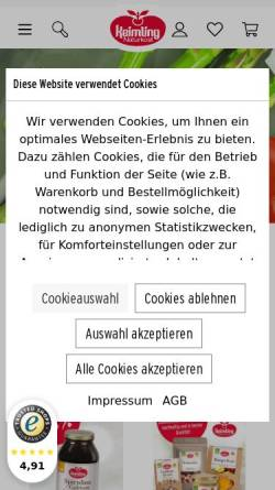 Vorschau der mobilen Webseite www.keimling.de, Keimling Naturkost GmbH
