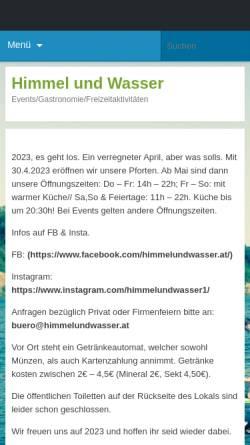 Vorschau der mobilen Webseite www.himmelundwasser.at, Himmel und Wasser