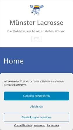 Vorschau der mobilen Webseite www.muenster-lacrosse.de, Münster Mohawks Lacrosse e.V.