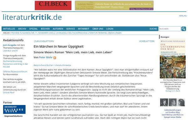 Vorschau von www.literaturkritik.de, Simone Meier: Mein Lieb, mein Lieb, mein Leben