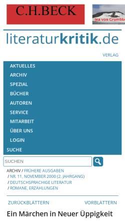 Vorschau der mobilen Webseite www.literaturkritik.de, Simone Meier: Mein Lieb, mein Lieb, mein Leben