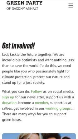 Vorschau der mobilen Webseite www.gruene-sachsen-anhalt.de, Bündnis 90/Die Grünen Sachsen-Anhalt