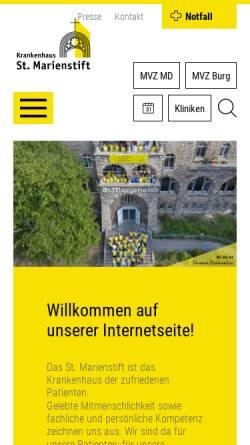 Vorschau der mobilen Webseite www.st-marienstift.de, Klinik St. Marienstift