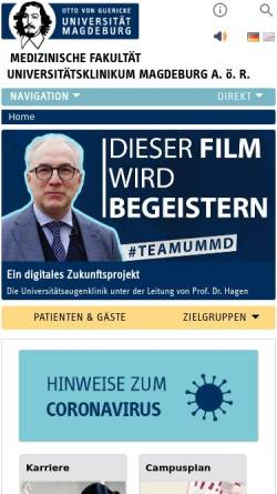 Vorschau der mobilen Webseite www.med.uni-magdeburg.de, Medizinische Fakultät der Otto-von-Guericke-Universität Magdeburg