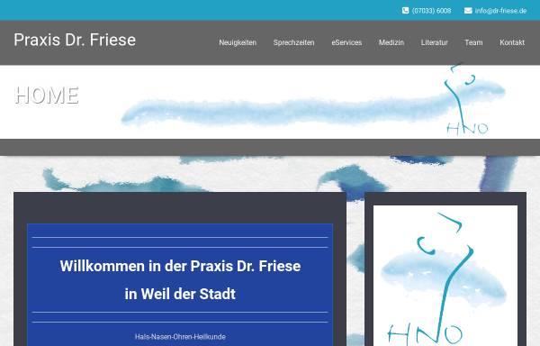 Vorschau von www.dr-friese.de, Dr. Karl-Heinz Friese HNO-Arzt