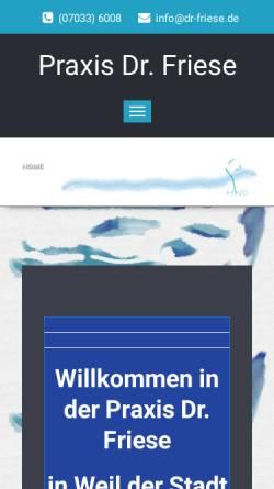 Vorschau der mobilen Webseite www.dr-friese.de, Dr. Karl-Heinz Friese HNO-Arzt