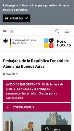 Vorschau der mobilen Webseite www.buenos-aires.diplo.de, Argentinien, deutsche Botschaft in Buenos Aires