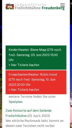 Vorschau der mobilen Webseite www.freilichtbuehne-freudenberg.de, Südwestfälische Freilichtbühne Freudenberg e.V.