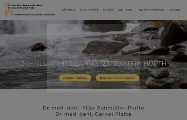 Vorschau von www.zahnlux.de, Dr. Silke Bahmüller & Dr. Gernot Platte - Gemeinschaftspraxis für moderne Zahnheilkunde