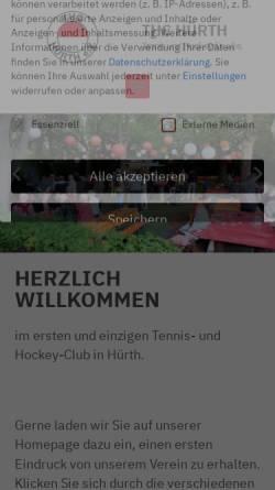 Vorschau der mobilen Webseite www.thc-huerth.de, Tennis und Hockey-Club Rot-Weiss e.V - Online-Präsenz