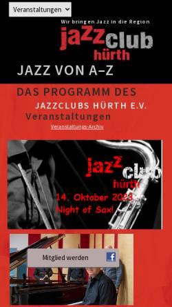 Vorschau der mobilen Webseite www.jazzclub-huerth.de, Jazz-Club Hürth e.V.