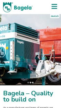 Vorschau der mobilen Webseite bagela.de, Bagela Baumaschinen GmbH & Co. KG