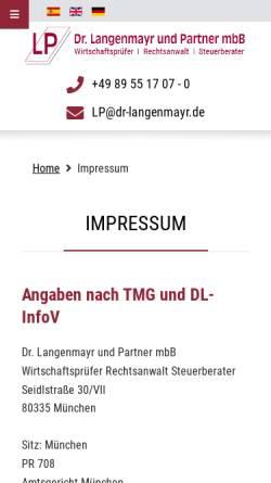 Vorschau der mobilen Webseite www.dr-langenmayr.de, Steuerberater Langenmayr München