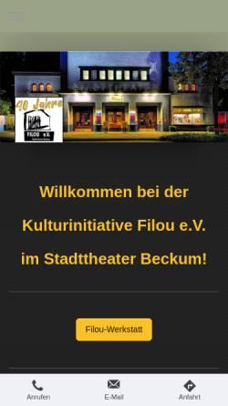 Vorschau der mobilen Webseite www.filou-beckum.de, Kulturinitiative Filou e.V.