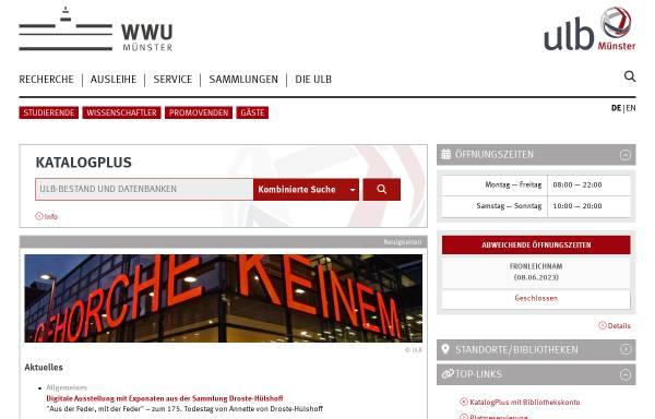 Vorschau von www.ulb.uni-muenster.de, Universitäts- und Landesbibliothek Münster