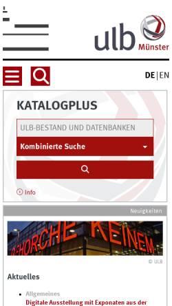 Vorschau der mobilen Webseite www.ulb.uni-muenster.de, Universitäts- und Landesbibliothek Münster