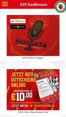 Vorschau der mobilen Webseite www.esvk.de, Eissportverein Kaufbeuren