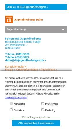 Vorschau der mobilen Webseite www.diejugendherbergen.de, Jugendherberge Dahn