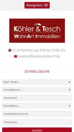 Vorschau der mobilen Webseite www.koehlerundtesch.de, Köhler & Tesch WohnArt Immobilien GbR
