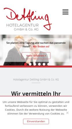 Vorschau der mobilen Webseite www.hotelagentur-dettling.de, Tagungen-Veranstaltungen Dettling GbR