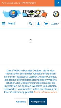Vorschau der mobilen Webseite www.moehnle.de, Spielwaren Möhnle