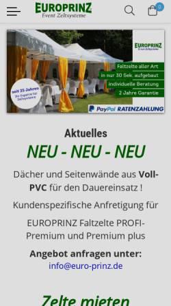 Vorschau der mobilen Webseite www.euro-prinz.com, EUROPRINZ GmbH