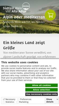 Vorschau der mobilen Webseite www.suedtirolerwein.com, Südtiroler Wein
