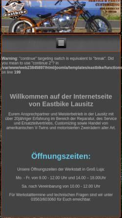 Vorschau der mobilen Webseite www.eastbike-lausitz.de, East Bike Lausitz