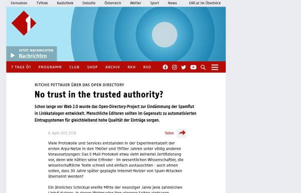 Vorschau von oe1.orf.at, ORF - No trust in the trusted authority?