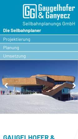 Vorschau der mobilen Webseite www.seilbahnplanung.at, Gaugelhofer und Ganyecz Seilbahnplanungs GmbH