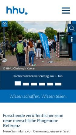 Vorschau der mobilen Webseite www.uni-duesseldorf.de, Heinrich-Heine-Universität