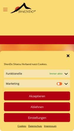 Vorschau der mobilen Webseite www.shendo.de, ShenDo Shiatsu Institute