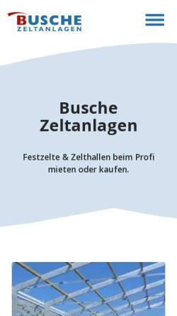 Vorschau der mobilen Webseite www.busche-zelte.de, Busche Zeltanlagen GmbH & Co.KG