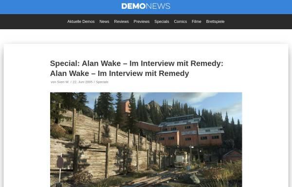 Vorschau von www.demonews.de, Demo News: Alan Wake - Im Interview mit Remedy