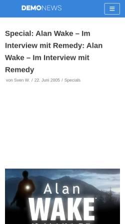 Vorschau der mobilen Webseite www.demonews.de, Demo News: Alan Wake - Im Interview mit Remedy