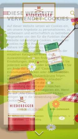 Vorschau der mobilen Webseite www.niederegger.de, J.G. Niederegger GmbH & Co. KG