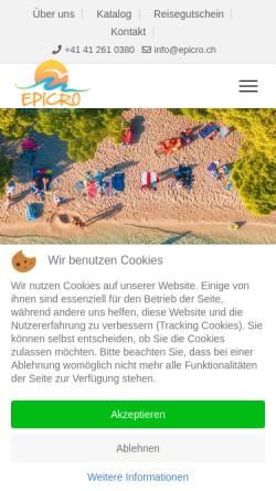 Vorschau der mobilen Webseite www.epicro.ch, Reisebüro Epicro