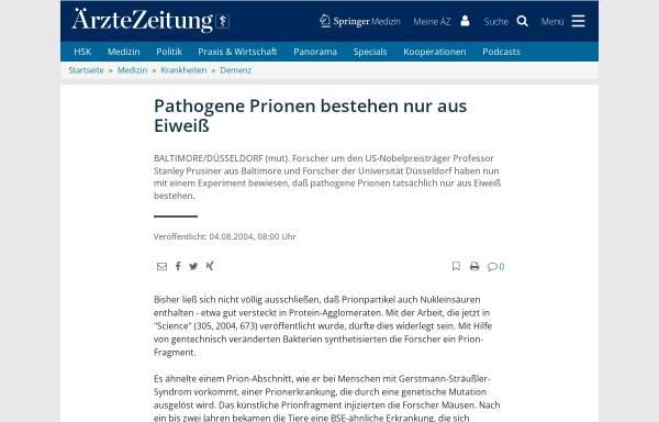 Vorschau von www.aerztezeitung.de, Pathogene Prionen bestehen nur aus Eiweiß
